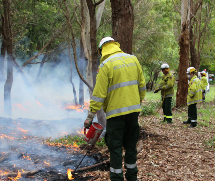 Controlled burn by National Parks and Wildlife Service and NSW Rural Fire Service staff