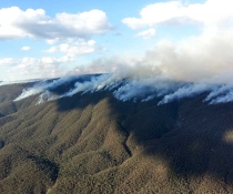 Aerial Incendiary Hazard reduction smoke plume in Brindabella National Park