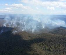 Smoke from Aerial Incendiary drop for Byadbo stockyards hazard reduction burn