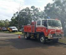 Fire trucks at hazard reduction burn, Georges River National Park