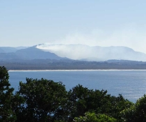 Hazard reduction burn at Rayners Road, Mount Jerusalem National Park, from Cape Byron, 6 June 2017