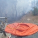 Enhanced bushfire management team hosing flames with Bouy Wall at Ku-ring-gai Chase National Park