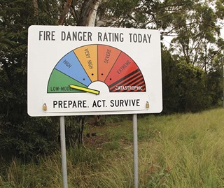Fire danger rating sign Royal National Park