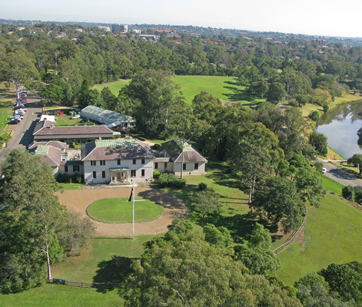 Aerial view of Old Government House, Parramatta Park