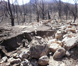 Debris flow after fire and rain in Warrumbungle National Park