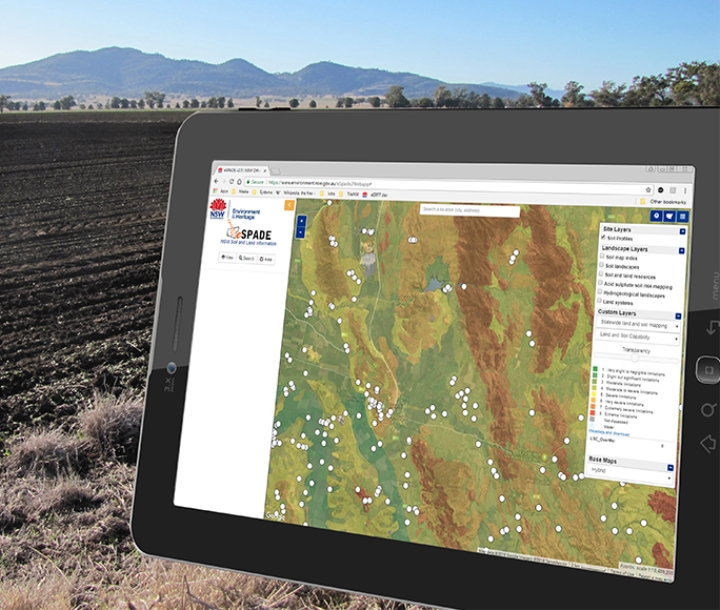 eSpade application displayed on a tablet in the field