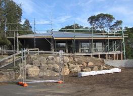 New roof under construction, Trial Bay kiosk, Arakoon National Park