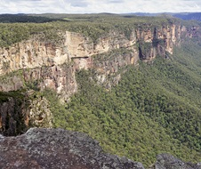Escarpment and valley view from Lockleys Pylon Walking Track Blue Mountains National Park