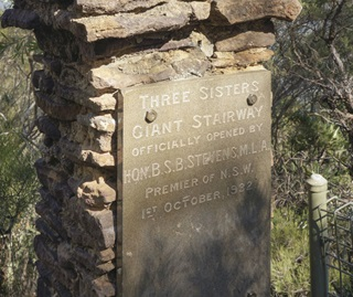 Three Sisters Giant Stairway officially opened October 1932 commemorative plaque Blue Mountains National Park
