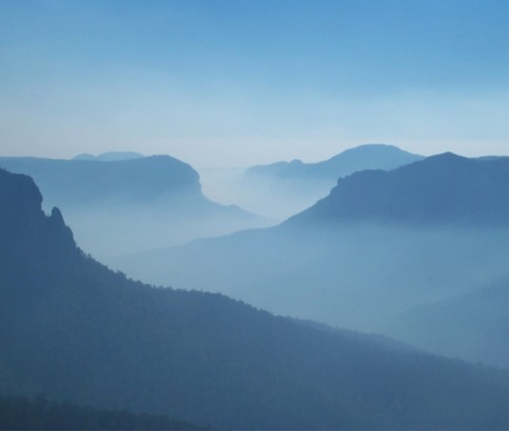 Blue haze over Grose Valley, Blue Mountains national Park, view from Govett's Leap lookout, Blackheath