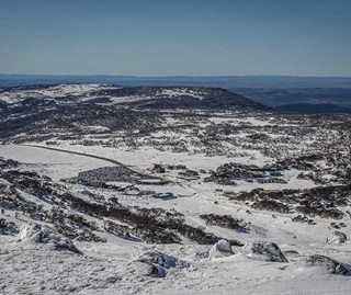 Perisher Valley winter landscape view to Cross Country Centre, Kosciuszko National Park