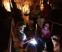 Cave Guide Sue Prosser in Jillabenan: Hunting Fairies at Yarrangobilly Caves in Kosciuszko National Park.