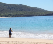 Fisherman at Depot Beach, Murramarang National Park