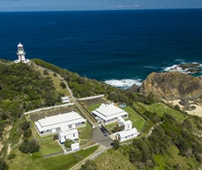 Aerial overview Sugarloaf Point Lighthouse Keepers' Cottages, Myall Lakes National Park