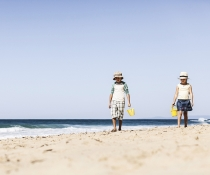Children walking along Garie Beach, Royal National Park
