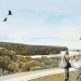 Architects render of the Wattamolla boardwalk/viewing platform towards the lagoon and beach. Context Landscape Architecture, Royal National Park.