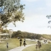 Architects render of the main lawn and picnic area, Wattamolla. Context Landscape Architecture, Royal National Park.