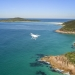 Drone flying above coastline, Tomaree National Park