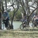 Family riding bikes at Yanga National Park