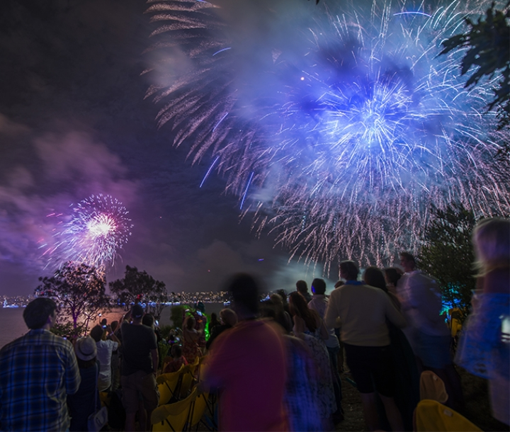 People enjoying spectacular NYE fireworks display on Clark Island