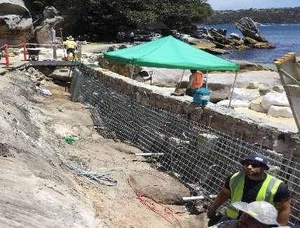 Temporary repairs being made to the seawall at Nielsen Park, Sydney Harbour National Park