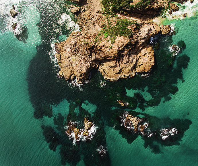 Rocks and Ocean, Aerial, Tomaree National Park