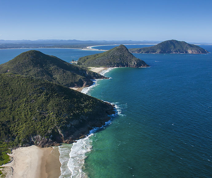 Coastal aerial photo of Mount Tomaree National Park, Port Stephens.