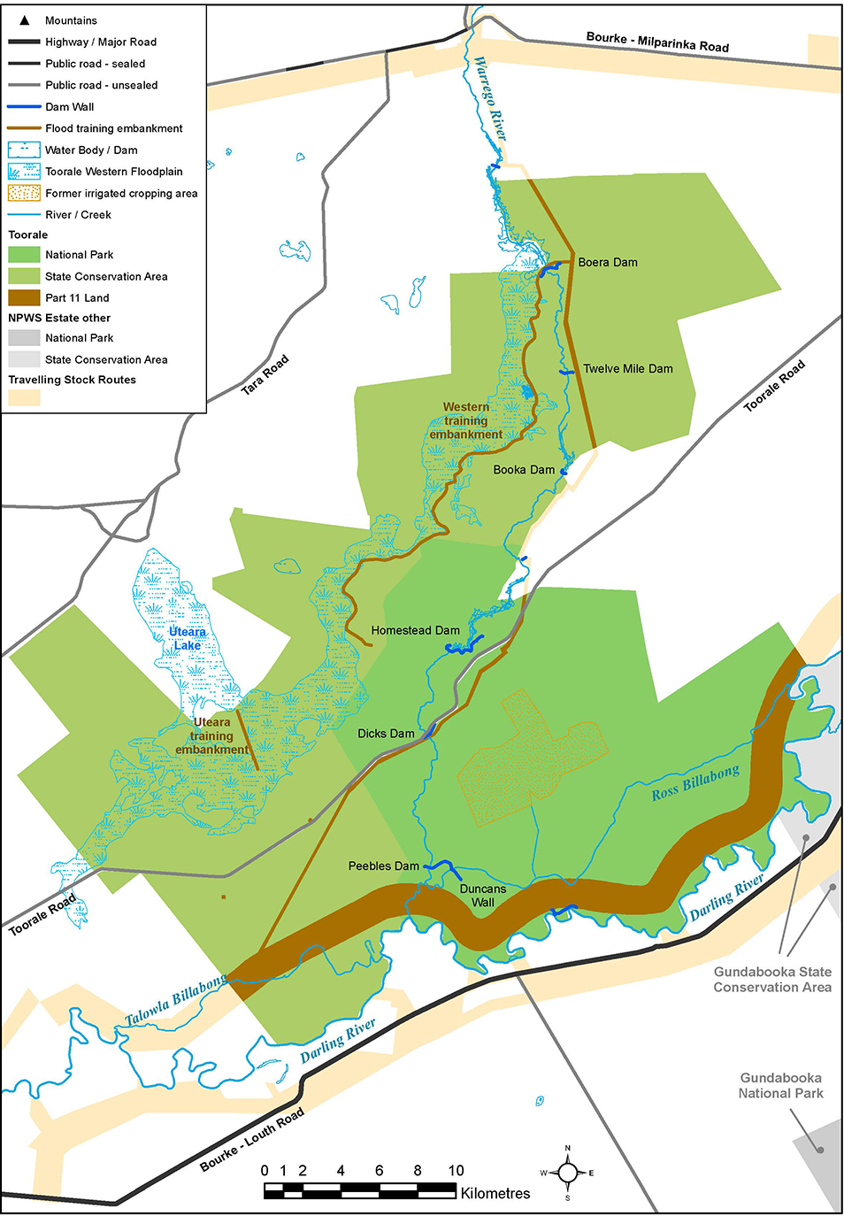 Toorale National Park map showing water infrastructure project details
