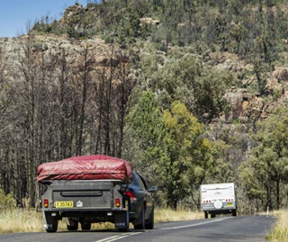Holidaymaker caravan, cars and trailer, Warrumbungle National Park