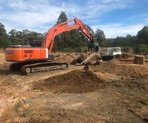 Local contractor engaged to shape ponds and place habitat logs, Worrigee Nature Reserve