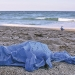 Blue plastic bag polluting a beach