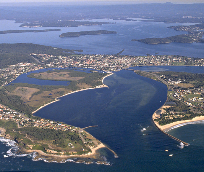 Aerial view of Swansea and Lake Macquarie