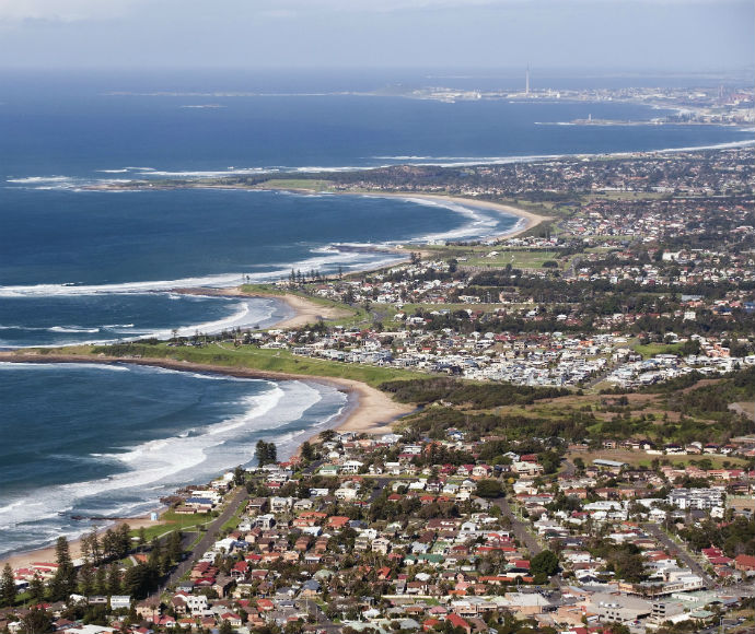View of Illawarra coastline from Sublime Point lookout in Illawarra Escarpment State Conservation Area