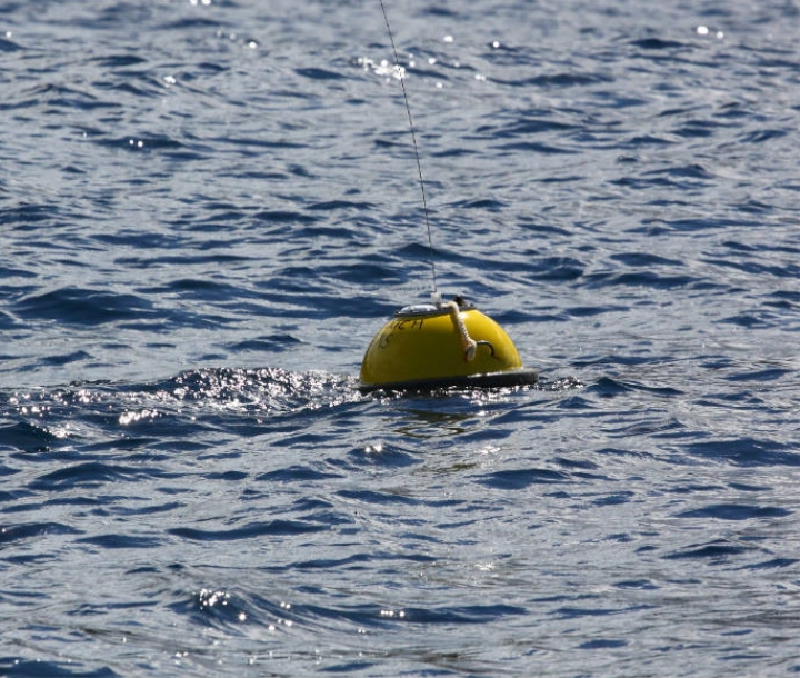 Bright yellow wave buoy deployed off the NSW coast