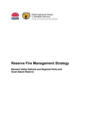 Berowra Valley National and Regional Parks and Dural Nature Reserve Fire Management Strategy