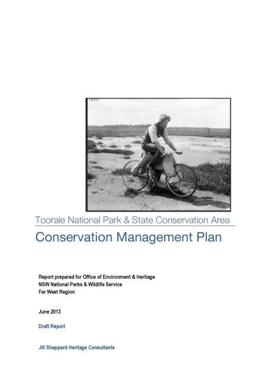 Toorale National Park and State Conservation Area Conservation Management Plan