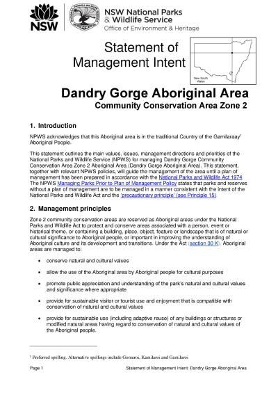Dandry Gorge Aboriginal Area Statement of Management Intent