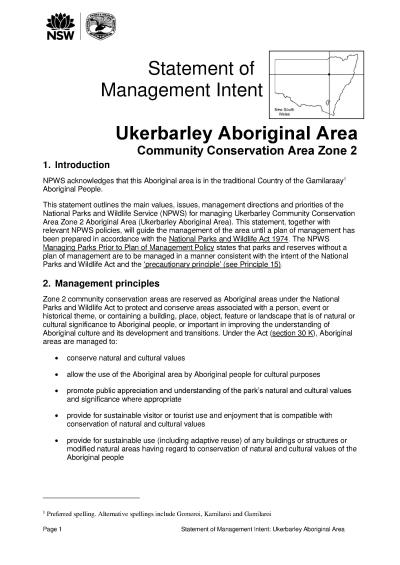 Ukerbarley Aboriginal Area Statement of Management Intent
