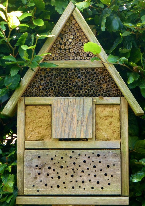 Image of the front of a wooden insect hotel with pitched roof and small holes for insects to enter.