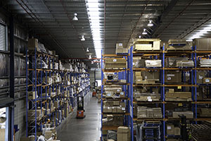 Energy-efficient lighting in a large warehouse