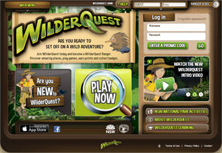 homepage for the wilderquest website