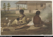 Aboriginal family sitting on an English settler's farm
