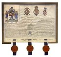 The Letters Patent for the Coat of Arms granted to the Metropolitan Water, Sewage & Drainage Board in 1965, with seals of the Kings of Arms in London.