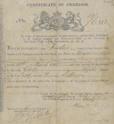 Certificate of freedom granted to Thomas Siderson in 1832 after serving 14 year sentence. Reproduced courtesy of Mitchell Library, State Library of NSW