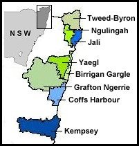 Map: Local and District Aboriginal Land Council areas in north-eastern NSW