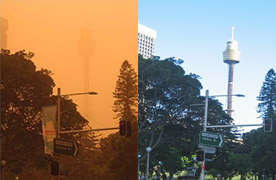 Sydney Tower during a dust storm and on a clear day. Photo: L Goggin/OEH