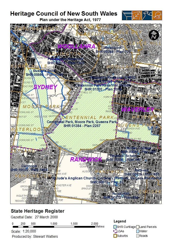 Map Centennial Park Sydney Australuia on
